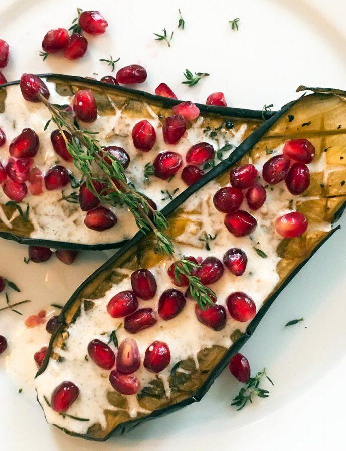 Gebackene Aubergine mit Buttermilch-Topping
