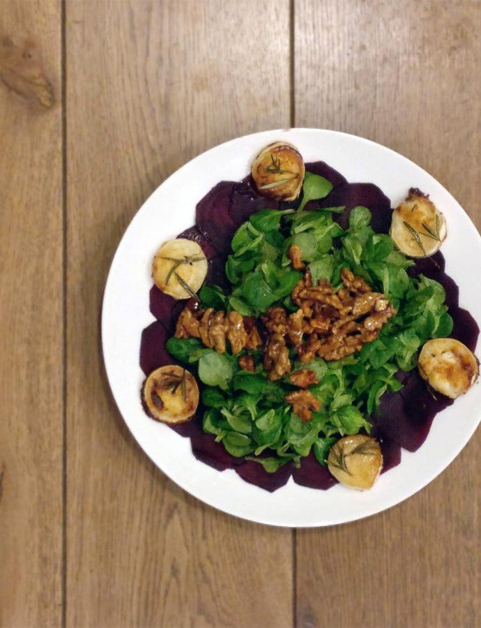 Rote-Beete-Carpaccio mit Feldsalat
