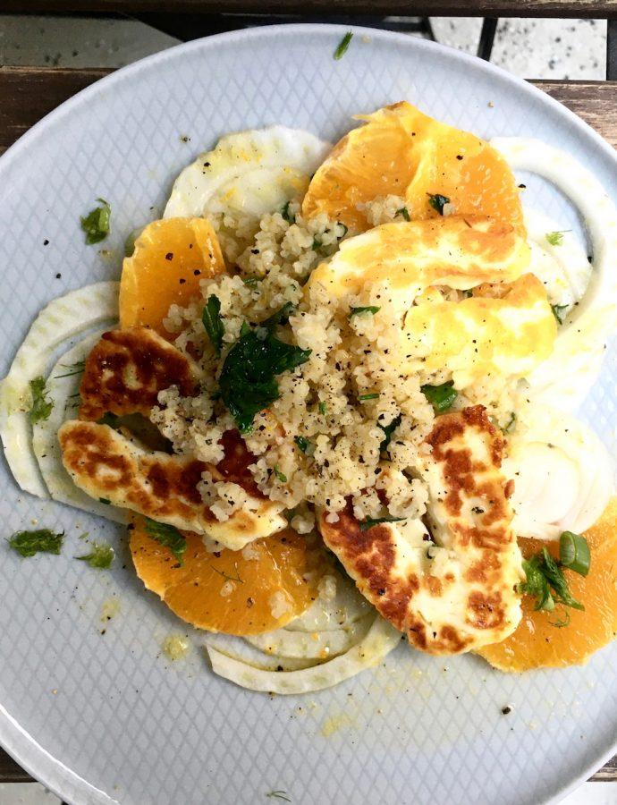 Fenchel-Orangen-Salat mit gebratenem Halloumi und Bulgur
